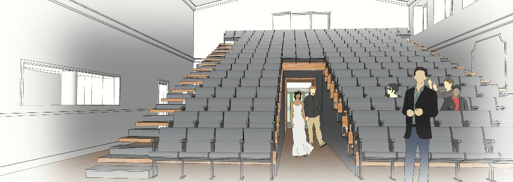Illustration of a crowd starting to form on St Margaret's Hall's tiered seating