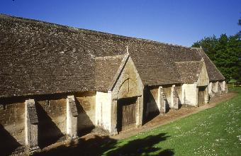 The Tithe Barn on a clear summer's day
