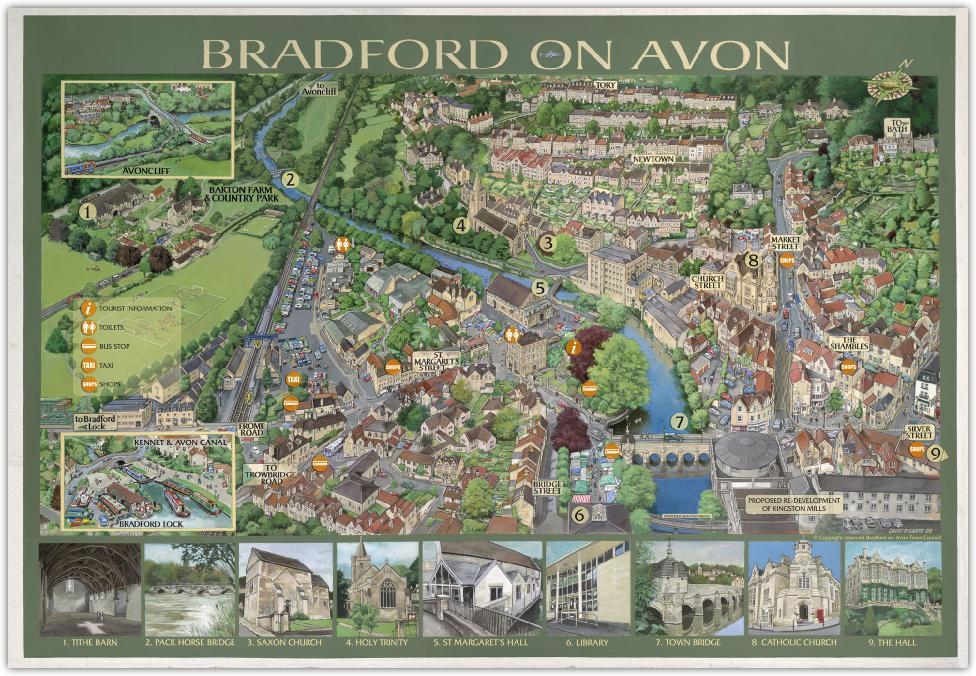 illustrated map of Bradford on Avon