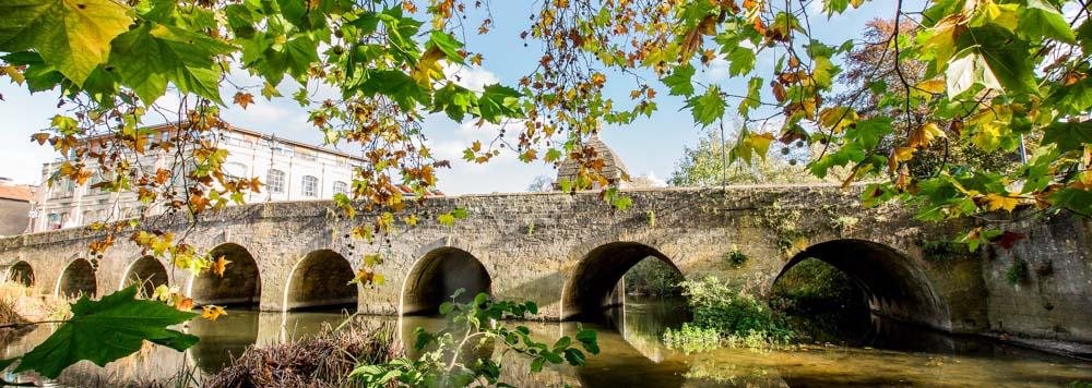 The Town Bridge seen through late-summer leaves